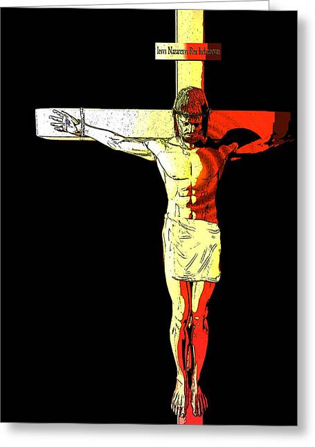 Calvary Digital Greeting Cards - Crucifixion  Greeting Card by Carol and Mike Werner
