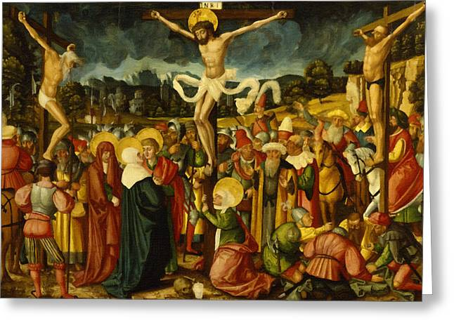 Calvary Greeting Cards - Crucifixion Greeting Card by Victor Gladkiy