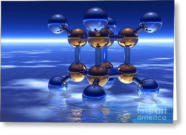 Platonic Greeting Cards - Cubane Molecule Greeting Card by Laguna Design
