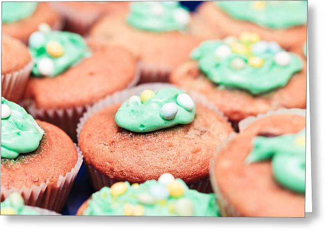 Catering Greeting Cards - Cup cakes Greeting Card by Tom Gowanlock