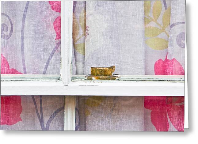 Interior Scene Photographs Greeting Cards - Curtain Greeting Card by Tom Gowanlock