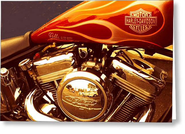 Coast Highway One Greeting Cards - Custom Harley Davidson Greeting Card by Barbara Snyder