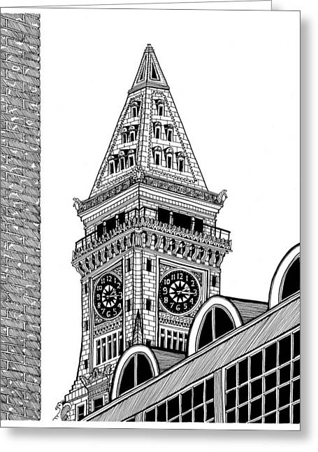 Boston Ma Drawings Greeting Cards - Custom House Tower Greeting Card by Conor Plunkett