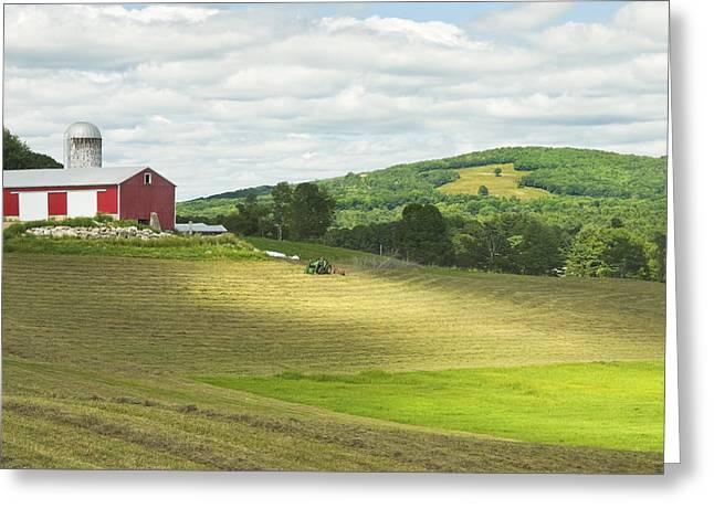 Maine Agriculture Greeting Cards - Cutting Hay In Summer On Maine Farm Greeting Card by Keith Webber Jr