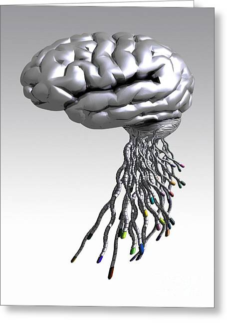 Automated Greeting Cards - Cyborg Brain, Artwork Greeting Card by Victor Habbick Visions