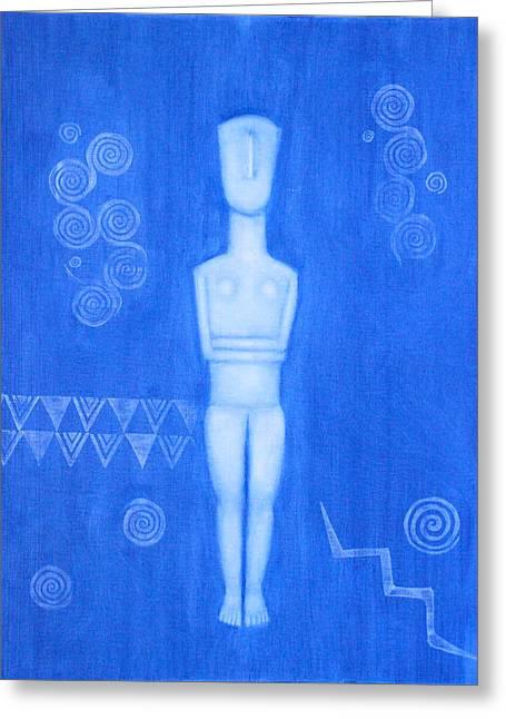 Goddess Birth Art Greeting Cards - Cycladic Goddess - right panel Greeting Card by Diana Perfect