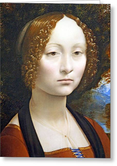 Photograph Of Painter Greeting Cards - Da Vincis Ginevra De Benci Greeting Card by Cora Wandel