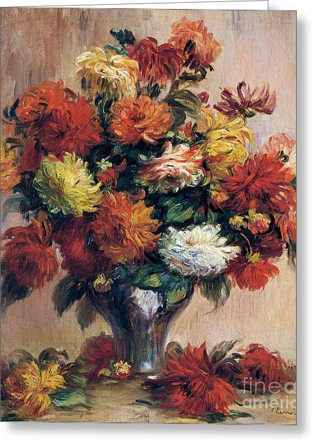 Flora Art Greeting Cards - Dahlias Greeting Card by Pierre-Auguste Renoir