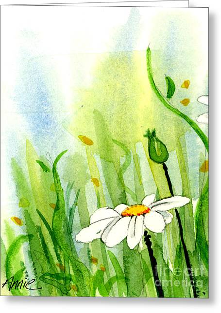 Anniesdoodlebugz Greeting Cards - Daisy Field 1 of 2 Greeting Card by Annie Troe
