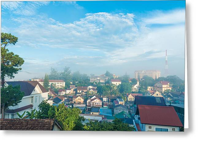 Dalat Greeting Cards - Dalat city view Vietnam Greeting Card by Nikita Buida
