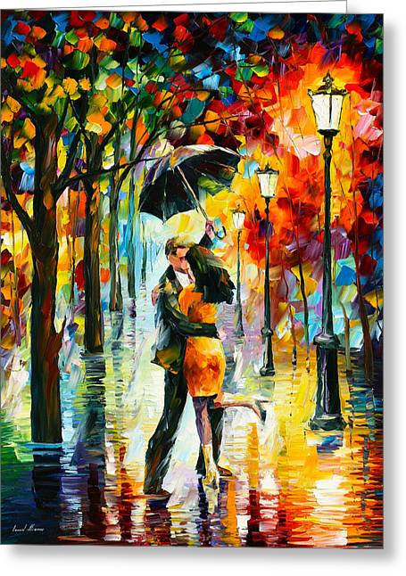 Love Poetry Greeting Cards - Dance Under The Rain Greeting Card by Leonid Afremov