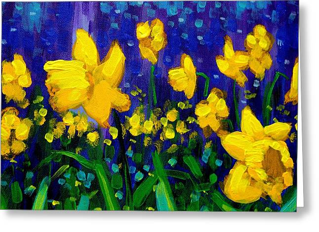 Acrylic Greeting Cards - Dancing Daffodils cropped  Greeting Card by John  Nolan