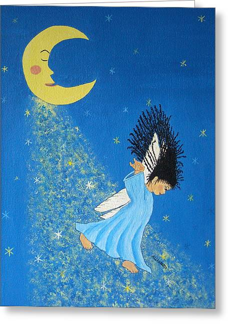 African-american Mixed Media Greeting Cards - Dancing On Moonbeams Greeting Card by Pamela Allegretto