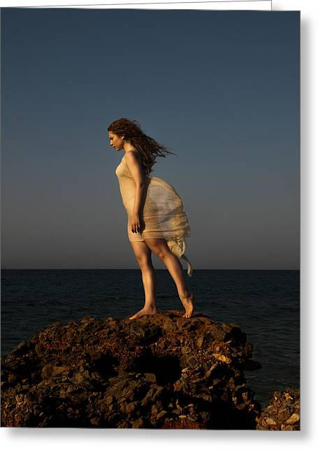 Model Art On Beach Greeting Cards - Dancing on the rocks Greeting Card by Manolis Tsantakis