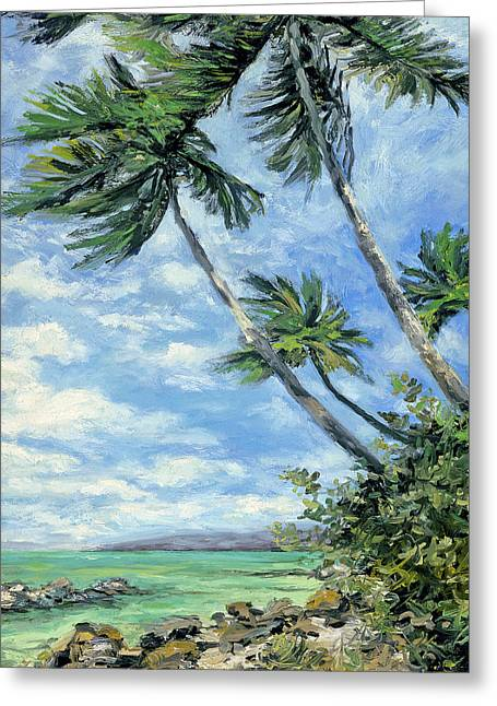 Stacy Vosberg Greeting Cards - Dancing Palms Greeting Card by Stacy Vosberg