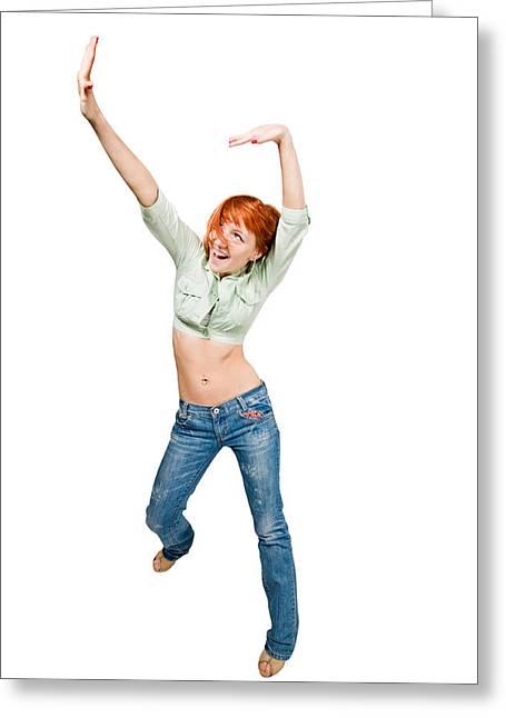 Dancing Girl Greeting Cards - Dancing red girl Greeting Card by Nikita Buida