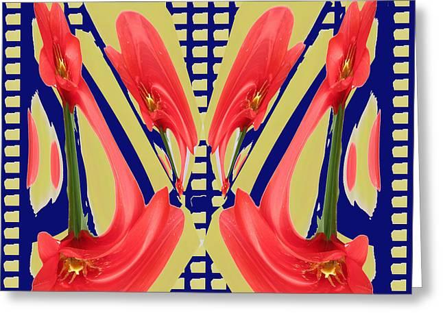 Floral Digital Art Digital Art Greeting Cards - Dancing Tulip Red Exotic Flower Petal based wave pattern  Created by NavinJoshi Reiki Healing Master Greeting Card by Navin Joshi