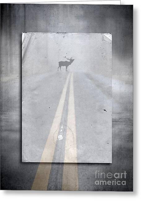 Roadway Photographs Greeting Cards - Danger Ahead Greeting Card by Edward Fielding