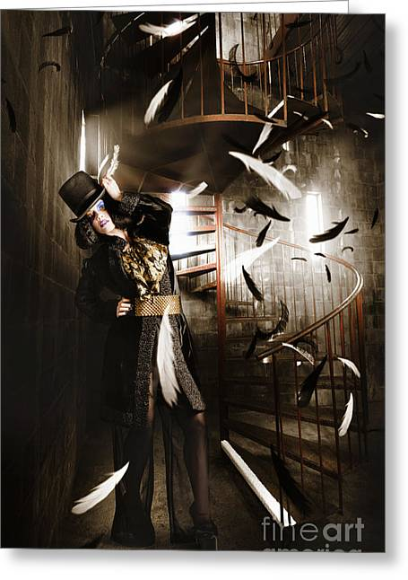 Dark Fashion Girl Making Magic And Mystery Wish Greeting Card by Jorgo Photography - Wall Art Gallery