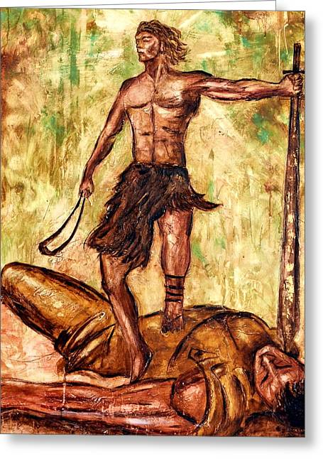 Last Supper Greeting Cards - David and Goliath Greeting Card by Ivan Guaderrama