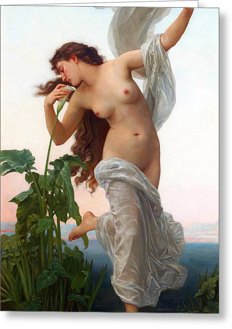 Romanticism Greeting Cards - Dawn  Greeting Card by William-Adolphe Bouguereau