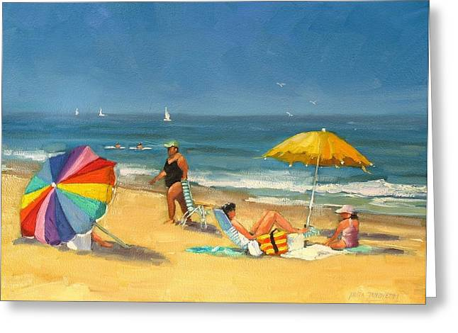 New England Coast Line Greeting Cards - Day at the Beach Greeting Card by Laura Lee Zanghetti