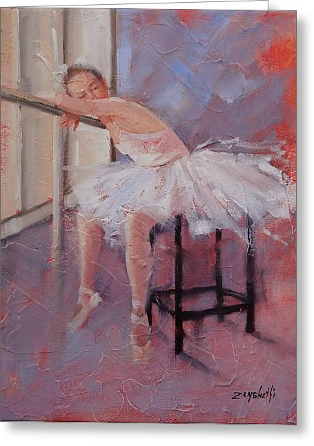Ballet Dancers Paintings Greeting Cards - Day Dreamer Greeting Card by Laura Lee Zanghetti