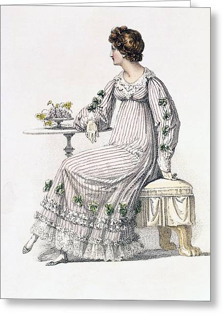 Lace Trim Greeting Cards - Day Dress, Fashion Plate Greeting Card by English School