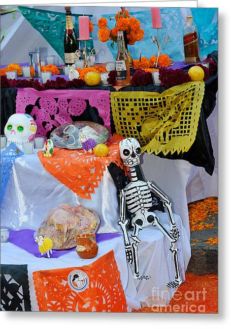 Marigold Festival Greeting Cards - Day Of The Dead Altar, Mexico Greeting Card by John Shaw