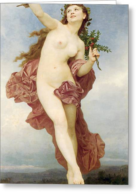 Bouguereau; William-adolphe (1825-1905) Greeting Cards - Day Greeting Card by William-Adolphe Bouguereau