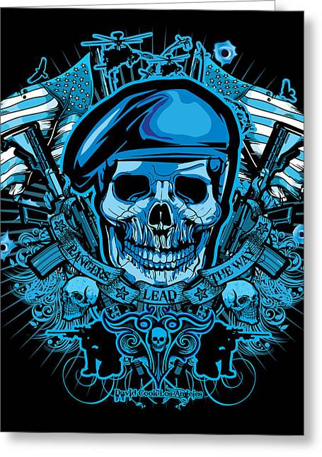 Pow Greeting Cards - DCLA Los Angeles Skull Army Ranger Artwork Greeting Card by David Cook Los Angeles