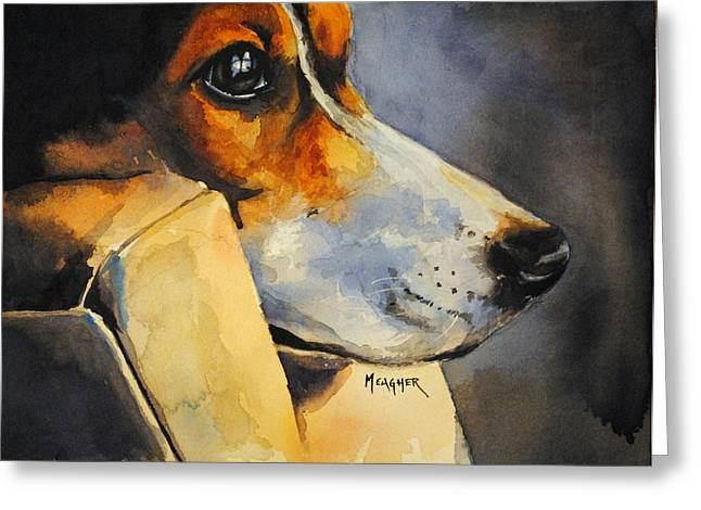 Black And Tan Greeting Cards - Deep In Thought Greeting Card by Spencer Meagher