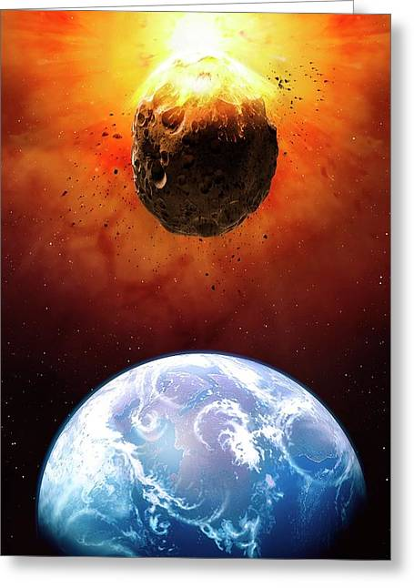 Deflecting A Near-earth Asteroid Greeting Card by Mark Garlick