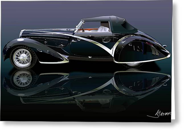 Southern Cal Auto Show Greeting Cards - Delahaye Greeting Card by Alain Jamar
