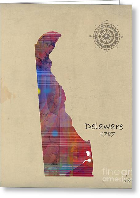 Abstract Map Greeting Cards - Delaware state map Greeting Card by Bri Buckley