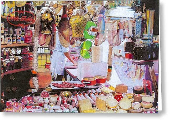 Wine Scene Mixed Media Greeting Cards - Deli on the Via Condotti Greeting Card by Constance Drescher