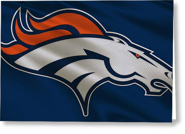 Uniformed Greeting Cards - Denver Broncos Uniform Greeting Card by Joe Hamilton