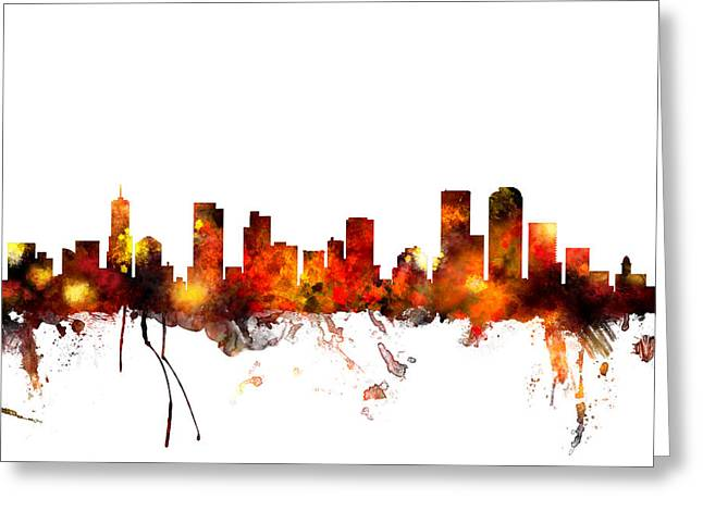Colorado Posters Greeting Cards - Denver Colorado Skyline Greeting Card by Michael Tompsett