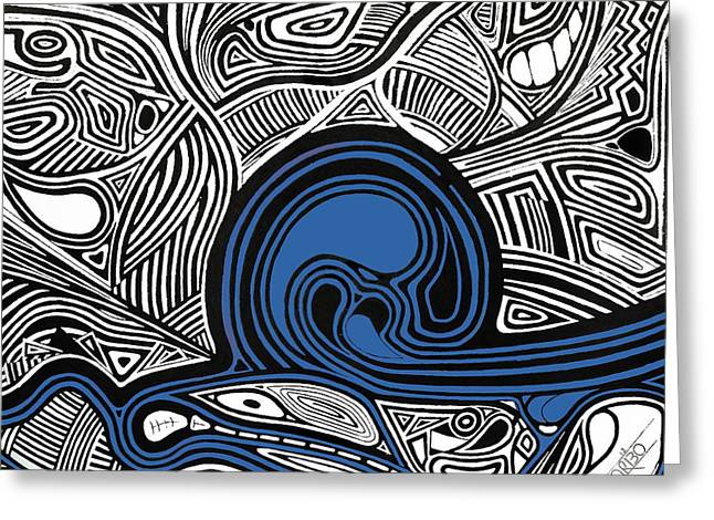 Trippy Greeting Cards - Depth1 Abstract Lines Blue Greeting Card by Andres Carbo