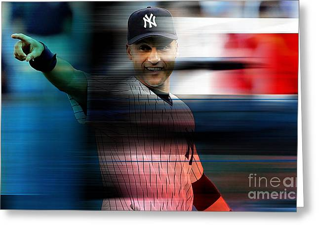 Derek Jeter Greeting Card by Marvin Blaine