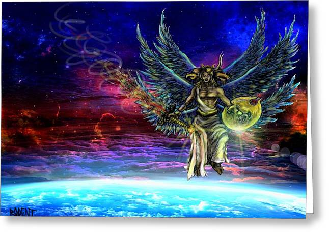 Cherubic Greeting Cards - Descending Seraphim Greeting Card by Michael Schneider