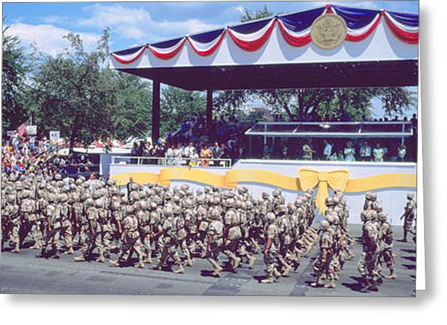 Special Occasion Greeting Cards - Desert Storm Victory Military Parade Greeting Card by Panoramic Images