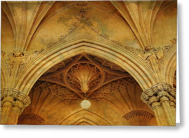 Royal Chapel Greeting Cards - Detail of Interior of Gothic Revival Chapel. Streets of Dublin.Gothic Collection Greeting Card by Jenny Rainbow
