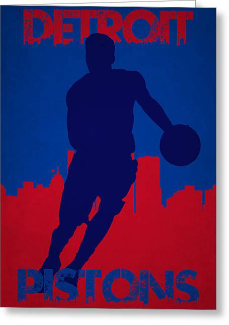 Dunk Greeting Cards - Detroit Pistons Greeting Card by Joe Hamilton