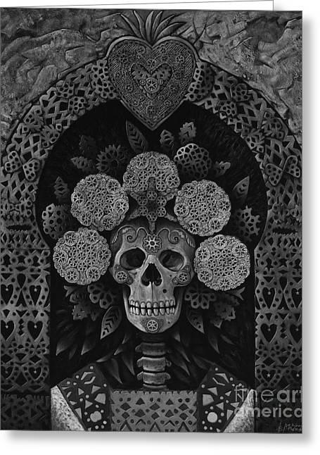 Dia De Muertos Madonna Greeting Card by Ricardo Chavez-Mendez