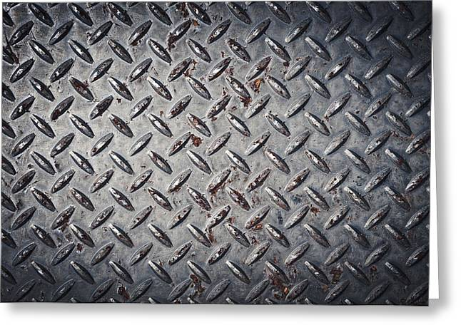 Diamond Plate Background Greeting Card by Brandon Bourdages