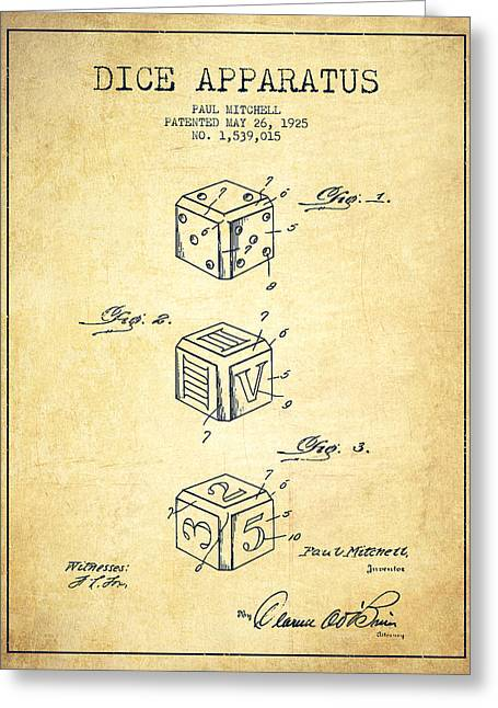 Win Digital Greeting Cards - Dice Apparatus Patent from 1925 - Green Greeting Card by Aged Pixel