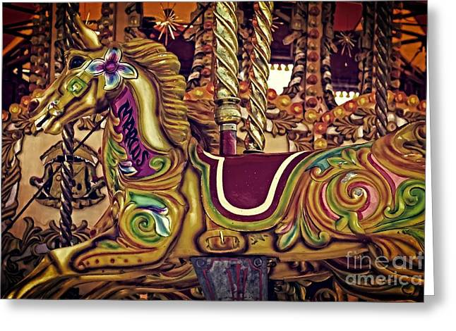 Amusements Greeting Cards - Digital painting of a carnival carousel horse Greeting Card by Ken Biggs