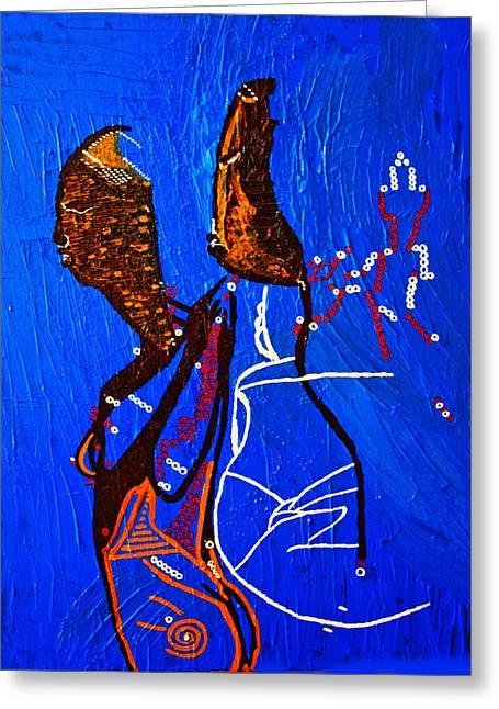 Dinka Embrace - South Sudan Greeting Card by Gloria Ssali