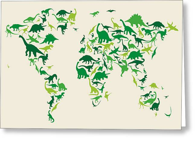 Tyrannosaurus Rex Greeting Cards - Dinosaur Map of the World Map Greeting Card by Michael Tompsett